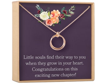 Adoption Gift Necklace: For Mom, Jewelry, New Mom Gift, Expectant Mother, Present , 2 Linked Circles