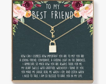 Best Friend Necklace: BFF Necklace, Best Friend Gift Jewelry, Long Distance, Quotes, Friends Forever, Lock and Key Pendant Necklace Set of 2