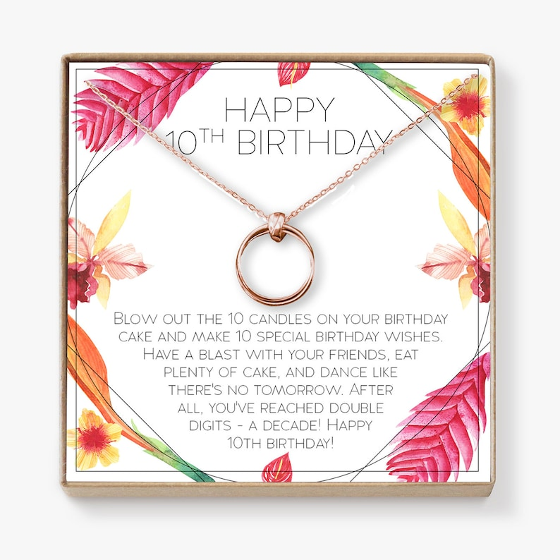 10th Birthday Gift For Girls Present Ten Year Old Girl Necklace