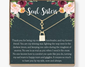 Soul Sisters Necklace: BFF Necklace, Best Friend Jewelry, Long Distance, Quotes, Friends Forever, Lock and Key Pendant Necklace Set of 2