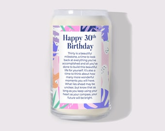 30th Birthday Gift Natural Soy Candle: Birthday Gift, Gift For Her