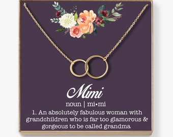 Mimi Necklace: Mimi Gift, Mimi Sign, Blessed Mimi, Gifts For Mimi, Best Mimi Ever, Mimi Jewelry, 2 Asymmetrical Circles