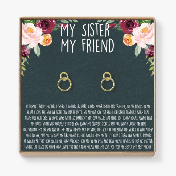 Sisters Earrings Sister Gift For