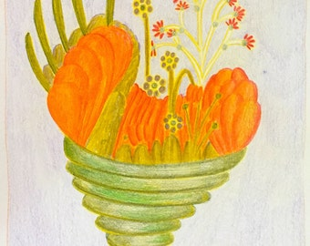 Bouquet - Original Colored Pencil Illustration - Framed