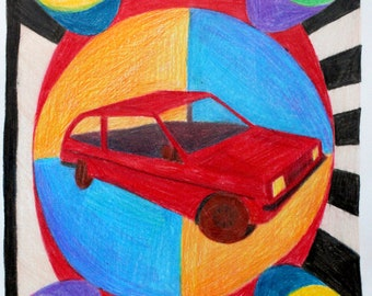 Little Red Car - Original Colored Pencil Illustration