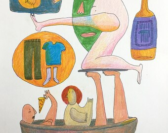 Bath Time - Original Colored Pencil Illustration