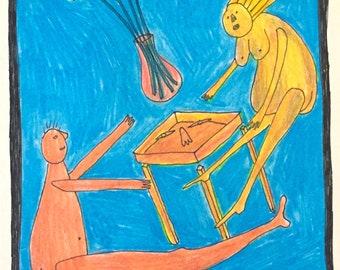 Table Dance - Original Colored Pencil Illustration - Framed