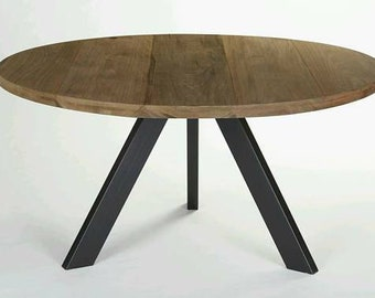 Industrial Modern Round Dining Table, Tripod Steel Base