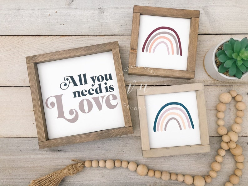 Boho Modern Decor Modern Farmhouse All You Need Is Love Sign Love Sign Nursery Room Decor All You Need Is Love