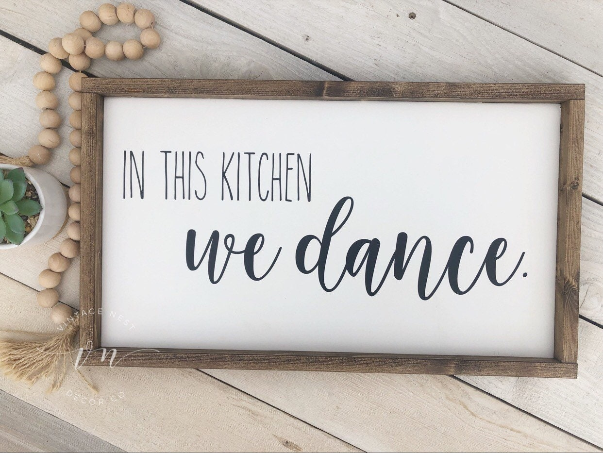 Home Decor Wood Frame Rustic Farmhouse Wall Sign Handmade Framed Canvas Fixer Upper Style Black and White This Kitchen is for Dancing