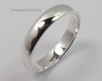 e41ed539e3 925 Sterling Silver 3.5 mm Wide Band Ring, Men's Women's Band Ring All Size  US, Wedding Engagement Anniversary Band Ring, Best LOVE Gift