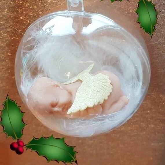 Personnalisé Magnifique Paillettes verre ange babioles de Noël Mémorial Cadeau