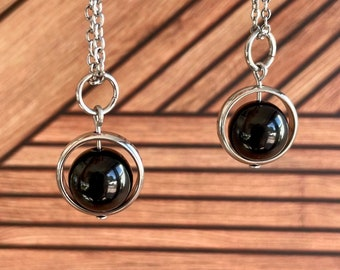 Black Onyx Necklace / Spinner Necklace / Hypoallergenic / Calming Grounding Shielding Necklace / Empath Protection Necklace / Minimalist