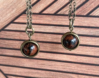 Mahogany Obsidian Necklace / Minimalist Spinner Necklace / Energy Courage Grounding Shielding Necklace / Energy Protection Necklace