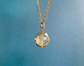 Citrine Necklace / Hexagon Spinner Necklace / Hypoallergenic / Joy Creativity Confidence Shielding Necklace / Energy Protection Necklace