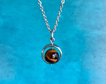 Tiger's Eye Necklace / Spinner Necklace /Hypoallergenic / Calming Grounding Power Confidence Necklace /Energy Protection Jewelry /Minimalist