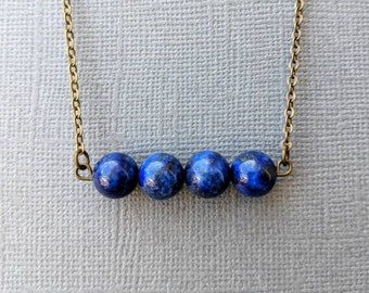 Lapis Lazuli Bar Necklace // Gemstone Necklace // Crystal Necklace // Healing Stone Necklace