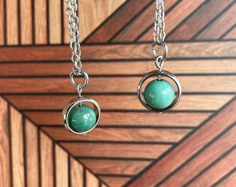 Chrysoprase Necklace / Spinner Necklace / Hypoallergenic / Joy Optimism Calming Grounding Necklace / Energy Protection Necklace / Minimalist