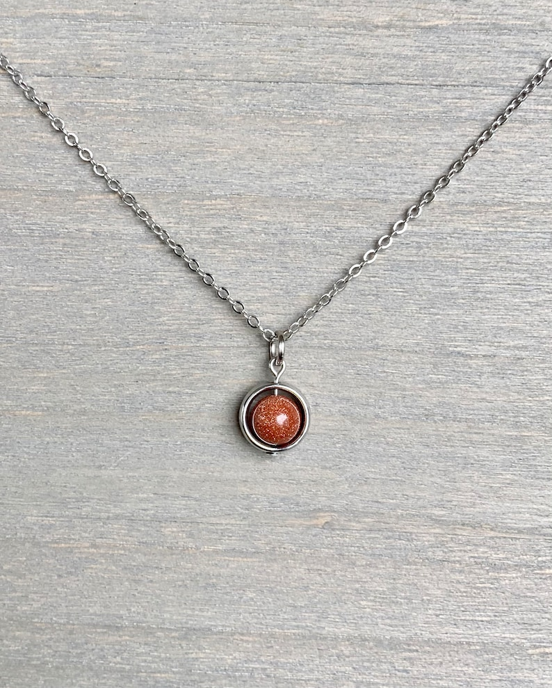 Goldstone Necklace  Spinner Necklace  Silver or Bronze  Minimalist Necklace  Confidence Grounding Protection Necklace  Reiki Jewelry