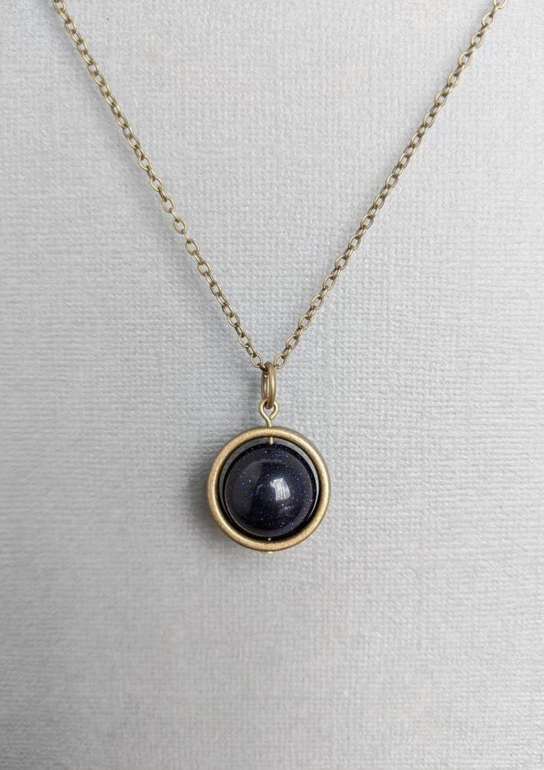 Blue Goldstone Necklace  Spinner Necklace  Silver or Bronze  Confidence Grounding Protection Necklace  Minimalist Reiki Jewelry
