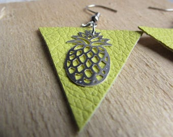Pineapple and yellow leather earrings