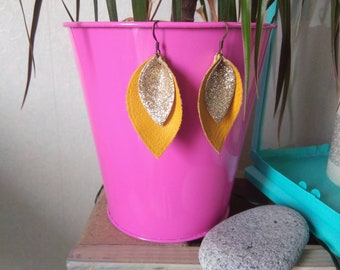 Drop earrings leather mustard and gold