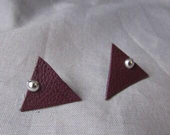 Burgundy triangle earrings