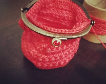 Handmade crochet purse with 8.5 cm nozzle. Coin Purse Crochet Yarn