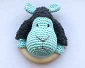 Sheep Rattle Blue - Finished items - Crochet