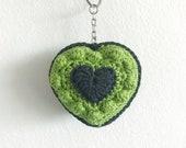Bobble Heart Keychain Green - Finished item - Crochet