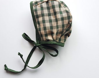 12-18M Green Gingham Bonnet