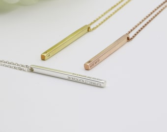 Bar Pendant Personalized Charms Nameplate Bar Gold Plated Pendant GLD-273 5x30mm 24k Shiny Gold Bar,Bar Necklace