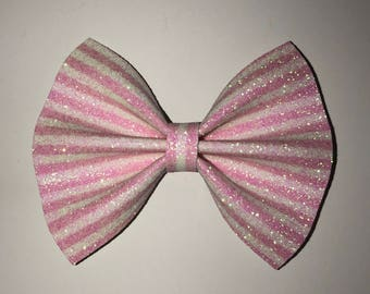 Pink and white hair bow / baby bow headbands / baby bows / baby headbands / toddler / clips / bows / nylon headbands / glitter bows /