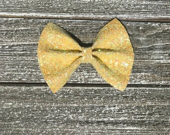 Sunshine yellow glitter bow / baby bow headbands / baby bows / baby headbands / toddler / clips / bows / nylon headbands / glitter bows /