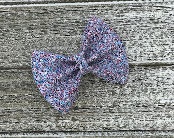 Red, White and Glitter Hair Bow/ baby bow headbands / baby bows / baby headbands / toddler / clips / bows / nylon headbands / glitter bows /