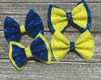 Down syndrome awareness bow / baby bow headbands / baby bows / baby headbands / toddler / clips / bows / nylon headbands / glitter bows /