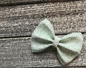Lime Glitter Hair Bow / baby bow headbands / baby bows / baby headbands / toddler / clips / bows / nylon headbands / glitter bows / glitter