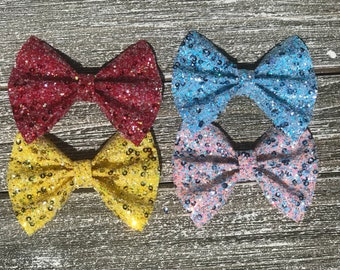 Princess Inspired Hair Bow / baby bow headbands / baby bows / baby headbands / toddler / clips / bows / nylon headbands / glitter bows /