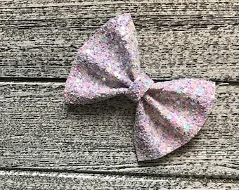 Lavender Glitter Hair Bow / baby bow headbands / baby bows / baby headbands / toddler / clips / bows / nylon headbands / glitter bows /
