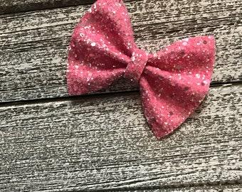 Hot pink glitter hair bow / baby bow headbands / baby bows / baby headbands / toddler / clips / bows / nylon headbands / glitter bows /