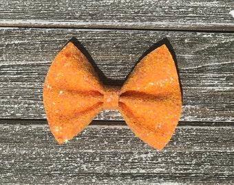 Orange creamsicle hair bow / baby bow headbands / baby bows / baby headbands / toddler / clips / bows / nylon headbands / glitter bows /