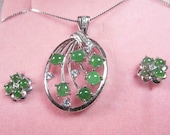 Imperial Icy Jadeite Jade 17 JEWELS Type A Certified Set of Ring, Earrings Pendant in Silver CZ Accent 346