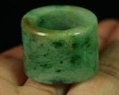 Sz 11 Imperial Green Lite Dark Certified Type A Jadeite Thick Jadeite Ring Unisex 847