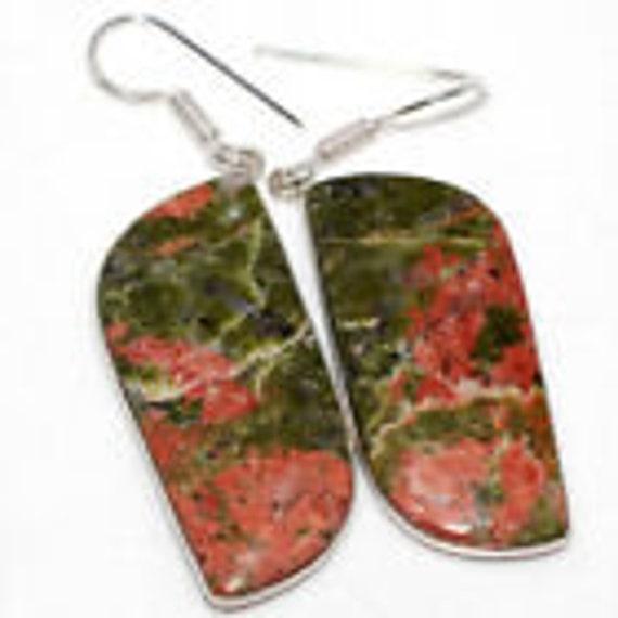 RARE! Rose + Green Unakite Stone Dangle Earrings