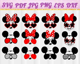 Miskey mouse head svg,Disney Mickey Mouse,Minnie Mouse silhouette SVG,Cricut,Magic Kingdom,Disney land,family vacation shirt design,jpg,dxf.