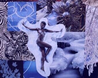 Winter Blues Original Collage