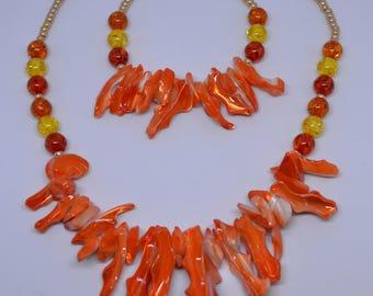 Fire Orange Shell Necklace & Bracelet Set