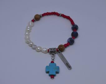 Handmade Freshwater Pearls & Soladite Beads Bracelet