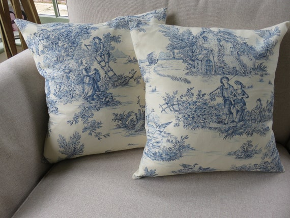 Blue Toile Cushion Cover 18x18 inch 45x45cm French Style Farmhouse Retro Pillow Cover Gifts Ins Trending Toile de Jouy Throw Pillow Cover