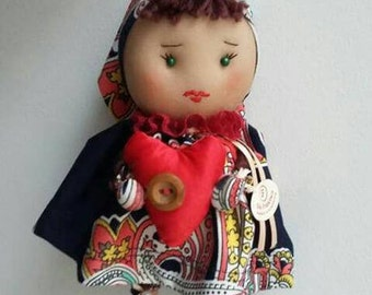doll with a heart, fabric, textile